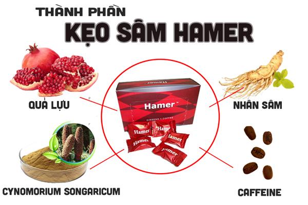 Thành phần chính có trong mỗi viên kẹo sâm Hamer